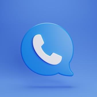 3d bel ons zwevende chat op blauwe achtergrond