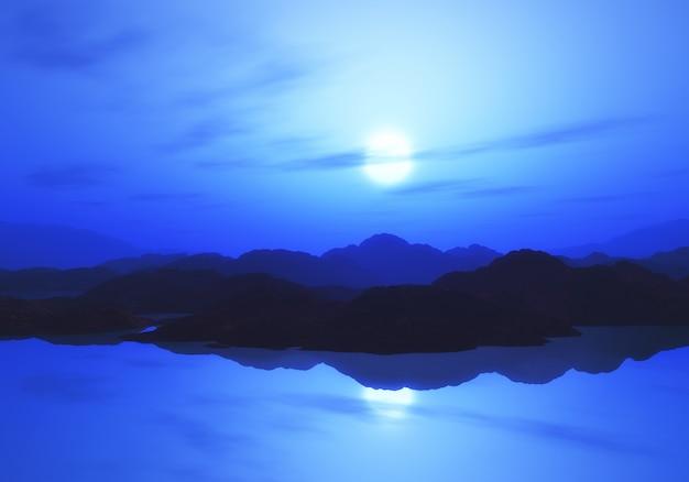 3d berglandschap met zonsonderganghemel