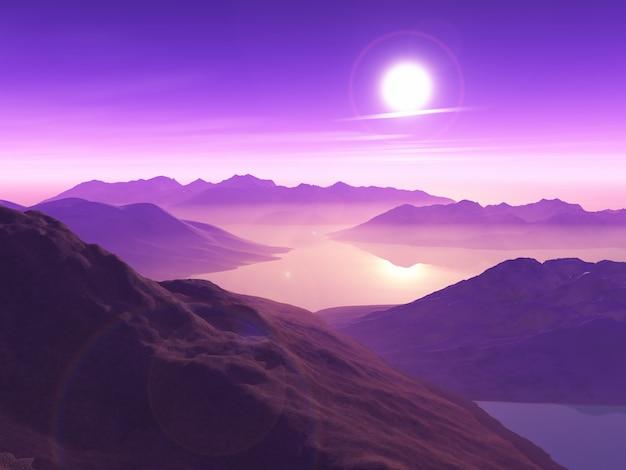 3d berglandschap tegen zonsonderganghemel met lage wolken