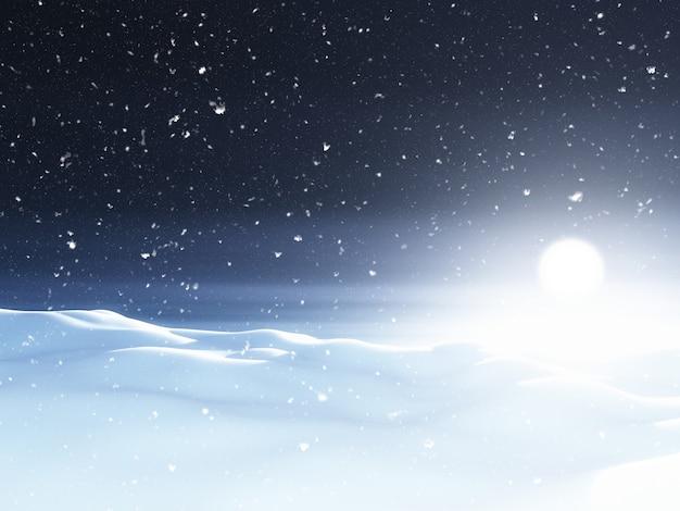 3d besneeuwde kerstlandschap 's nachts