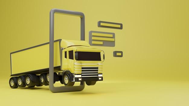 3d bestelwagen geladen met smartphoneconcept.