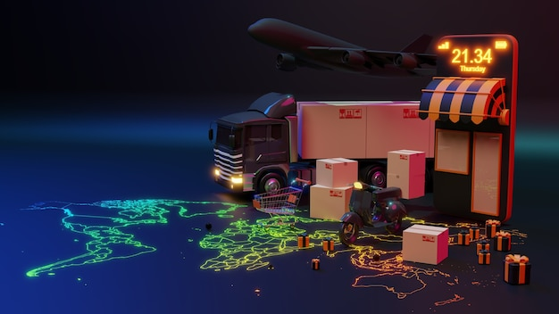 3d-bezorgwagen geladen met een kartonnen doos en smartphone met wereldkaartaanwijzer. levering en verzending dienstverleningsconcept.