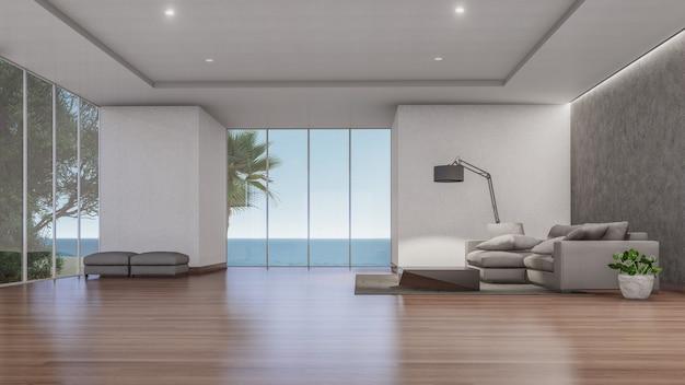 3d binnenlandse rendering van woonkamer