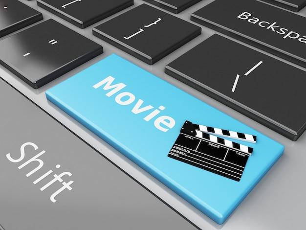 3d-bioscoop klepel bord op het toetsenbord van de computer.