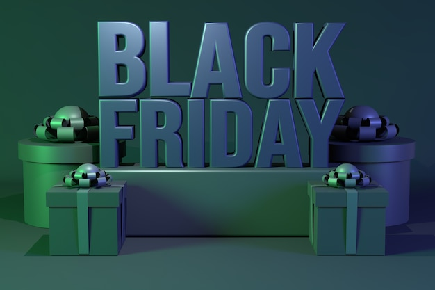 3d black friday-tekst met een groep geschenkdozen