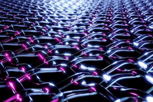 3d black metal mesh illustratie onder neonlichten. heldere abstracte sieraad getextureerde achtergrond.