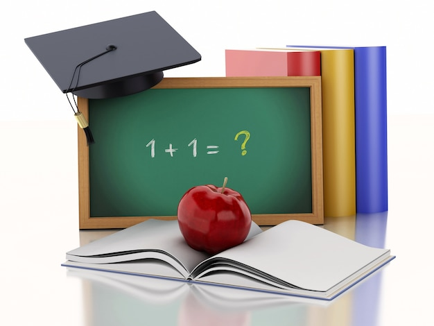 3d blackboard met diploma, afstuderen cap en boeken.
