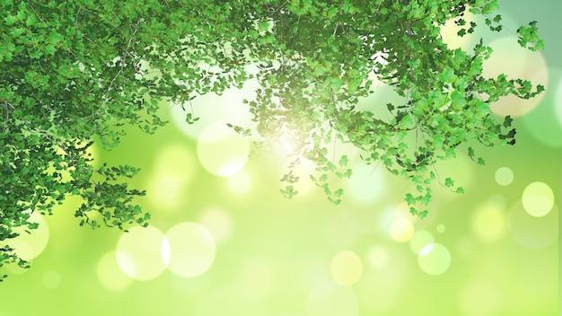 3d bladeren die uit aan een groen bokeh licht landschap kijken