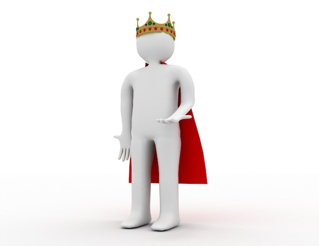 3d-blanke man met een kroon. 3d-gerenderde afbeelding