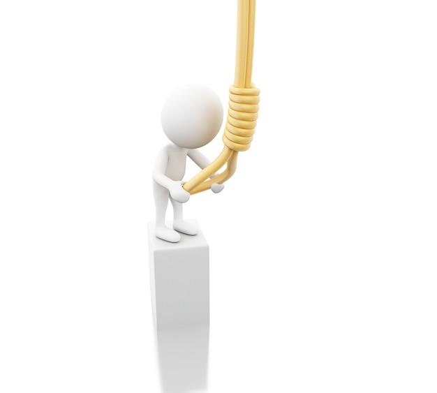3d blanke mensen proberen zichzelf op te hangen