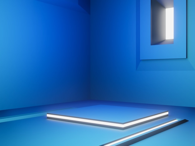 3d-blauw futuristisch podium met wit licht.