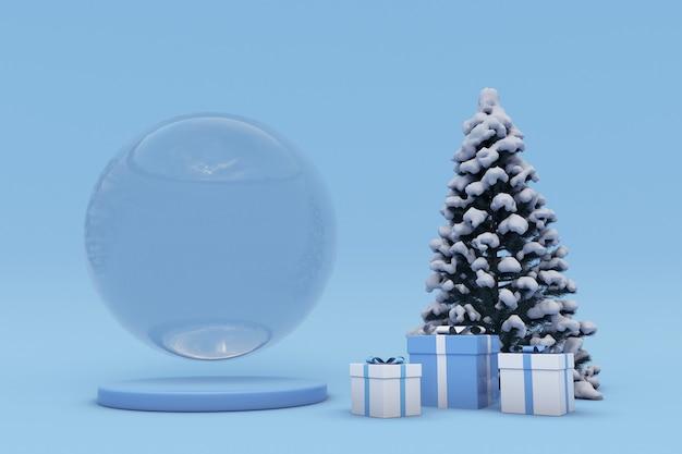 3d blauw kerstpodium voor productpresentatie vormen met feestelijke geschenkdoos