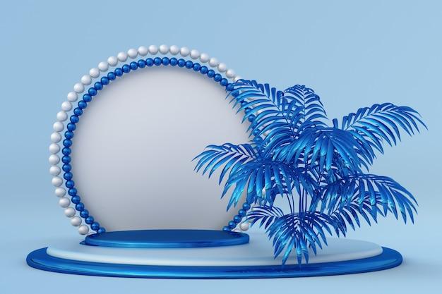 3d blauw podium met tropische palmbomen en parelkader kerstsjabloon met kopieerruimtetekst