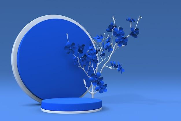 3d blauw rond podium met bloemsamenstelling van abstracte plant voetstuk voor huidverzorgingsproduct