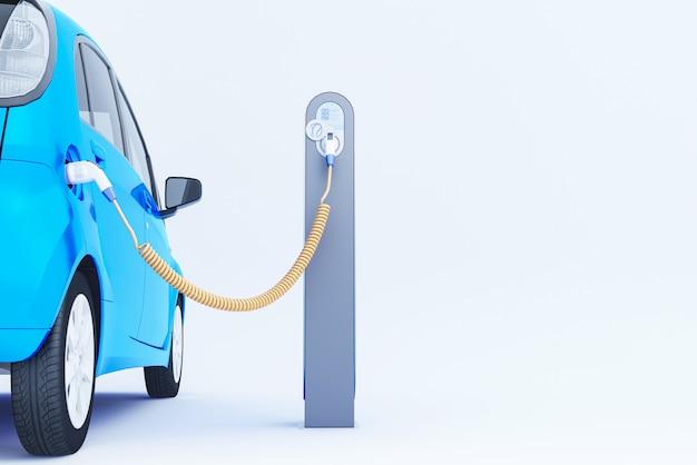 3d blauwe elektrische auto opladen bij het laadstation. 3d-weergave