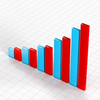 3d-blauwe en rode grafiek