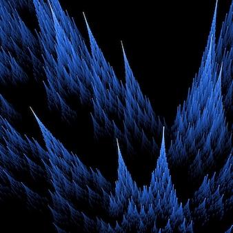 3d blauwe fractal met spitse vormen