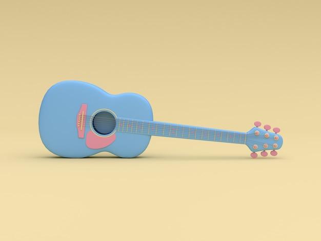 3d-blauwe gitaar cartoon stijl zachte gele minimale achtergrond 3d-rendering
