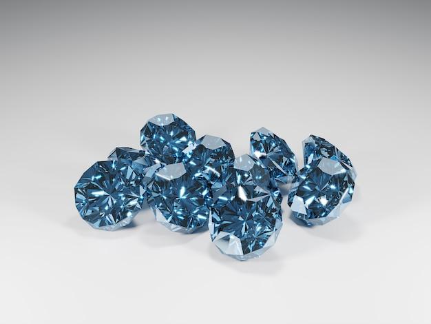 3d blauwe glanzende diamanten met grijze achtergrond