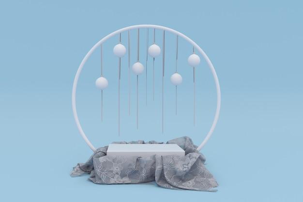 3d blauwe kerstachtergrond vierkant podium met feestelijke witte ballen voor productpresentatie