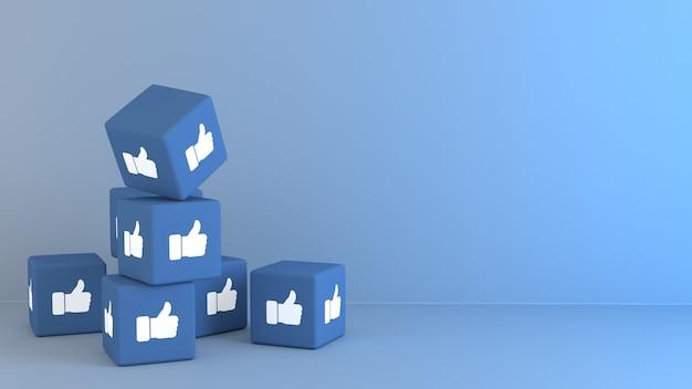 3d-blauwe kubussen met facbook zoals emoji-reactie