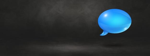 3d blauwe tekstballon geïsoleerd op zwarte banner achtergrond