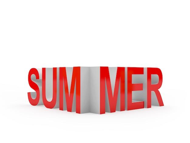 3d-blender rode zomer tekst geïsoleerd op een witte achtergrond