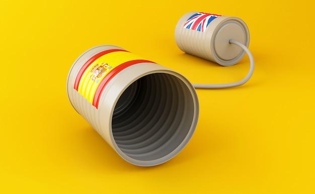3d blikje telefoons met vlaggen verbonden door string
