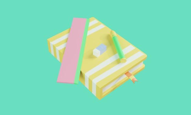 3d-boekpictogram liggend op de potloodliniaal en gum