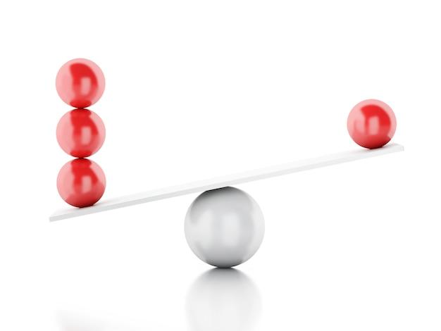3d bollen balanceren op een wip.