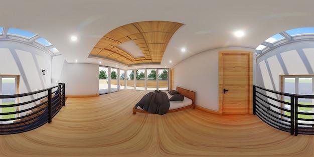 3d bolvormige 360 graden, naadloos panorama van slaapkamer