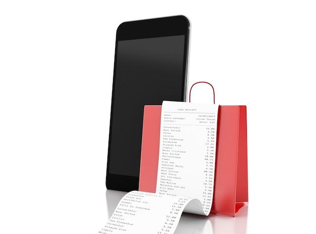 3d boodschappentas en winkel ontvangst met smartphone