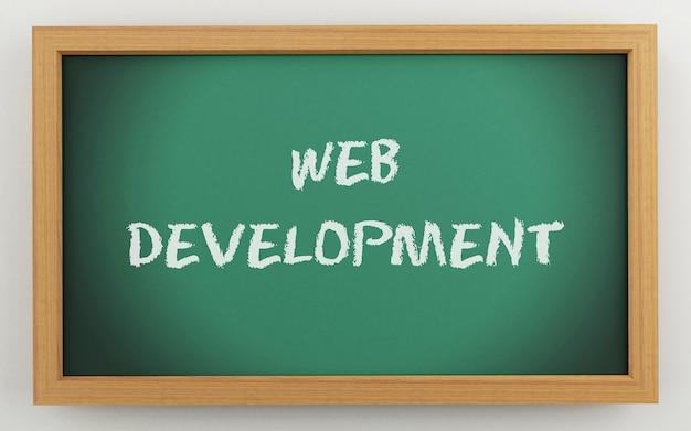 3d bord met web ontwikkelingstekst