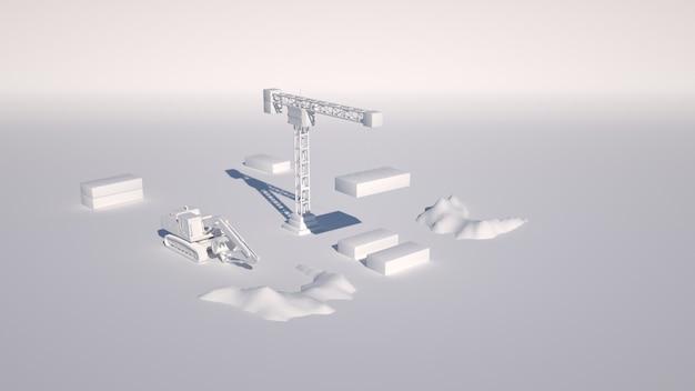 3d bouwplaats geïsoleerd. kraan en graafmachine, architectonische ontwerpelementen.