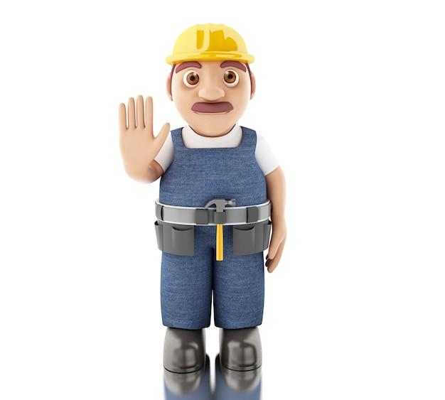 3d bouwvakker met hulpmiddelen