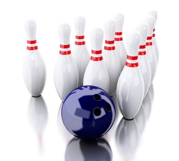 3d bowling pinnen en blauwe bal