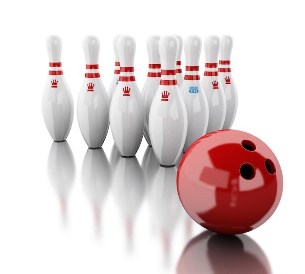 3d bowling pinnen en rode bal.