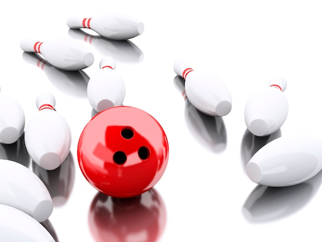 3d bowlingspelden en rode bal die een staking maken.