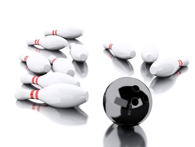 3d bowlingspelden en zwarte bal die een staking maken.