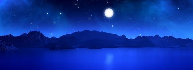 3d breedbeeld render van een surrealistische landschap met maan in de nacht