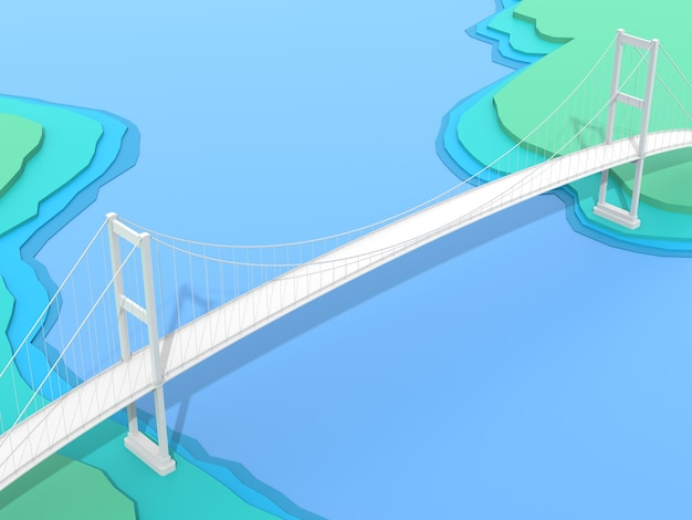 3d-brug op blauwe topologieachtergrond