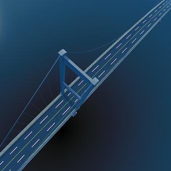 3d-brug op diepblauwe zeeachtergrond