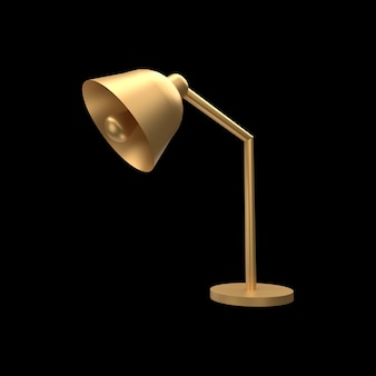 3d-bureaulamp illustratie. 3d gouden tafellamp.
