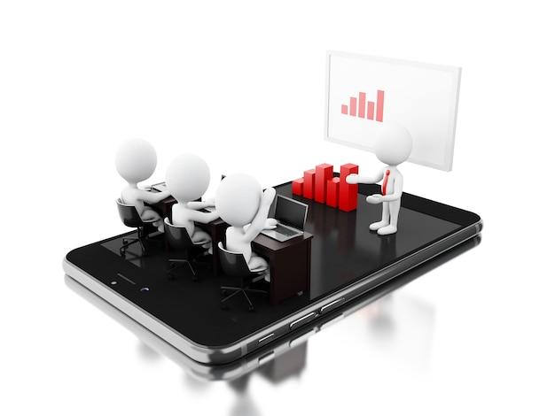 3d bussines-karakters die een online vergadering op tablet hebben