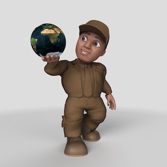3d cartoon delivery driver