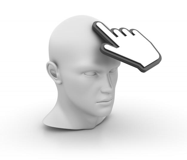 3d cartoon menselijk hoofd met handcursor