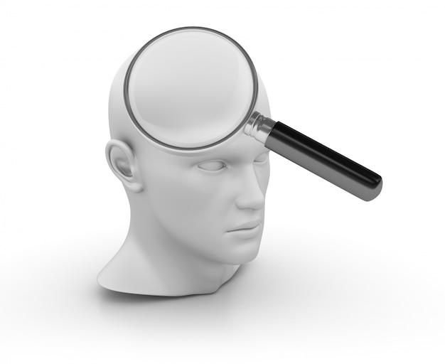 3d cartoon menselijk hoofd met loep