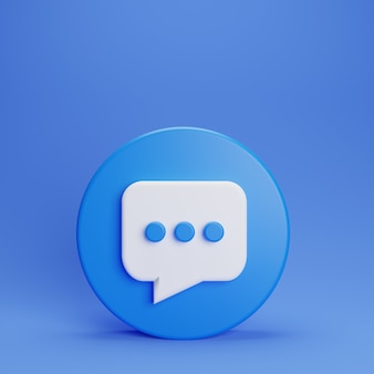 3d-chat ons knop op blauwe achtergrond