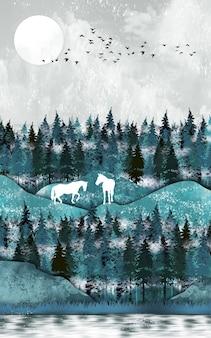 3d chinees landschap canvas grijze achtergrond chtrismas bomen en vogels bergen en witte wolken