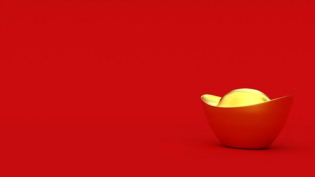 3d chinese gouden baar. rode kleur achtergrond